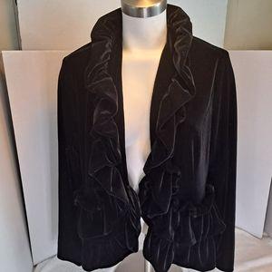 Midnight Velvet Black Blazer Jacket Ruffles Size L
